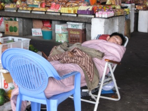 sleeping shop keeper