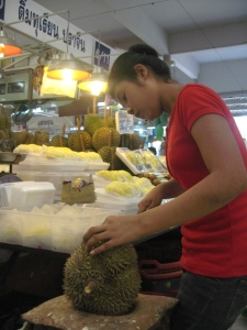 Peeling durians